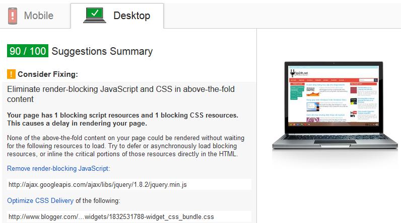 Cách xóa JavaScript chặn hiển thị màn hình PageSpeed Insights