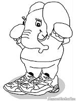 Mewarnai Gajah Imut Memakai Sepatu