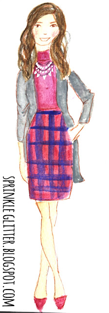 Sprinkle On Glitter Blog// Sketchworthy Reads: Extra Petite// gray cardigan and plaid pencil skirt