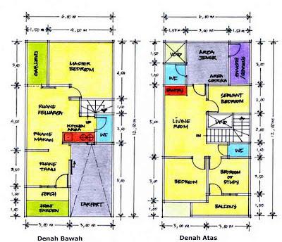 denah rumah sederhana on Contoh Denah Rumah Kopel KPR-BTN Type 21/60 | Desain Rumah Sederhana ...