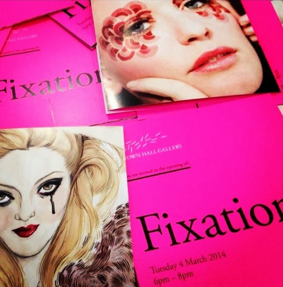 hot pink invites for Fixation Exhibition