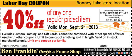 Ben franklin crafts and frame shop 40 off coupon for Ben franklin craft store coupons