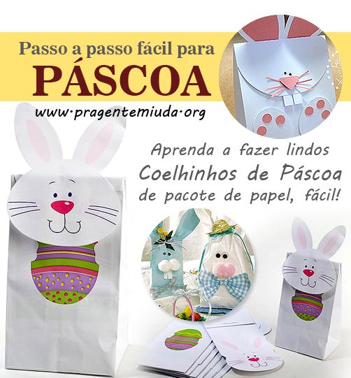 Coelhinhos porta guloseimas com pacotes de papel
