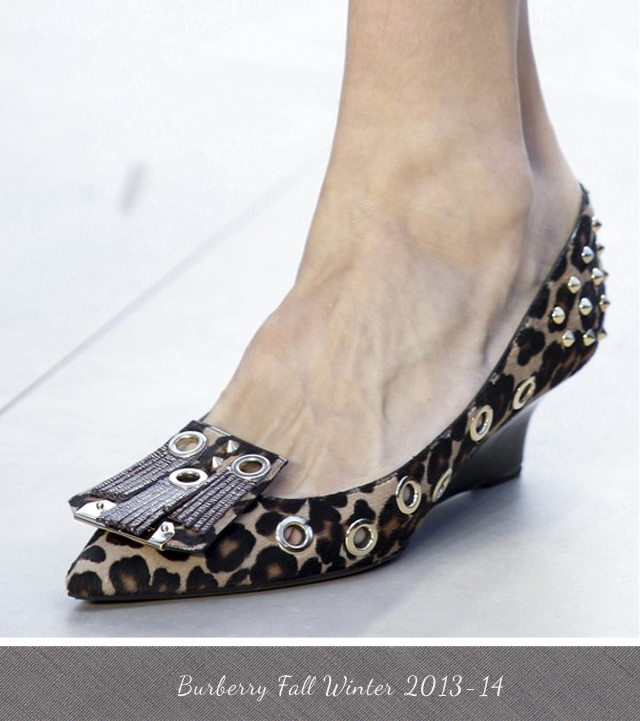Burberry Leopard Print shoe with low wedge heel, studs and tassels fall winter 2013-2014
