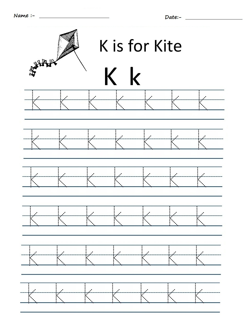 Worksheet Tracing The Letter K kindergarten worksheets alphabet tracing k