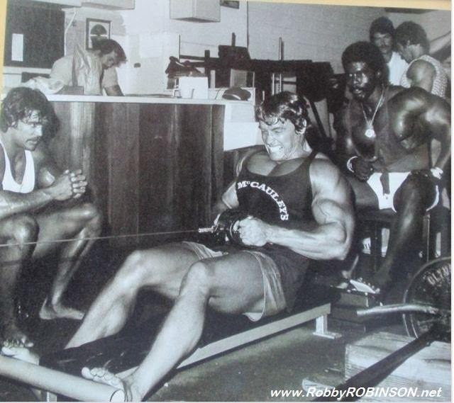 Denny Gable; Robby Robinson, Arnold Schwarzenegger and other bodybuilding legends during training and filming of Pumping Iron ● www.robbyrobinson.net/books.php ●