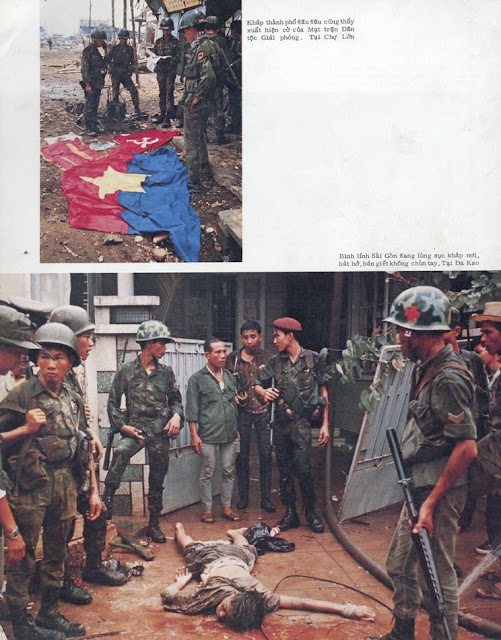 South Vietnamese soldiers with killed Vietcong guerrilla