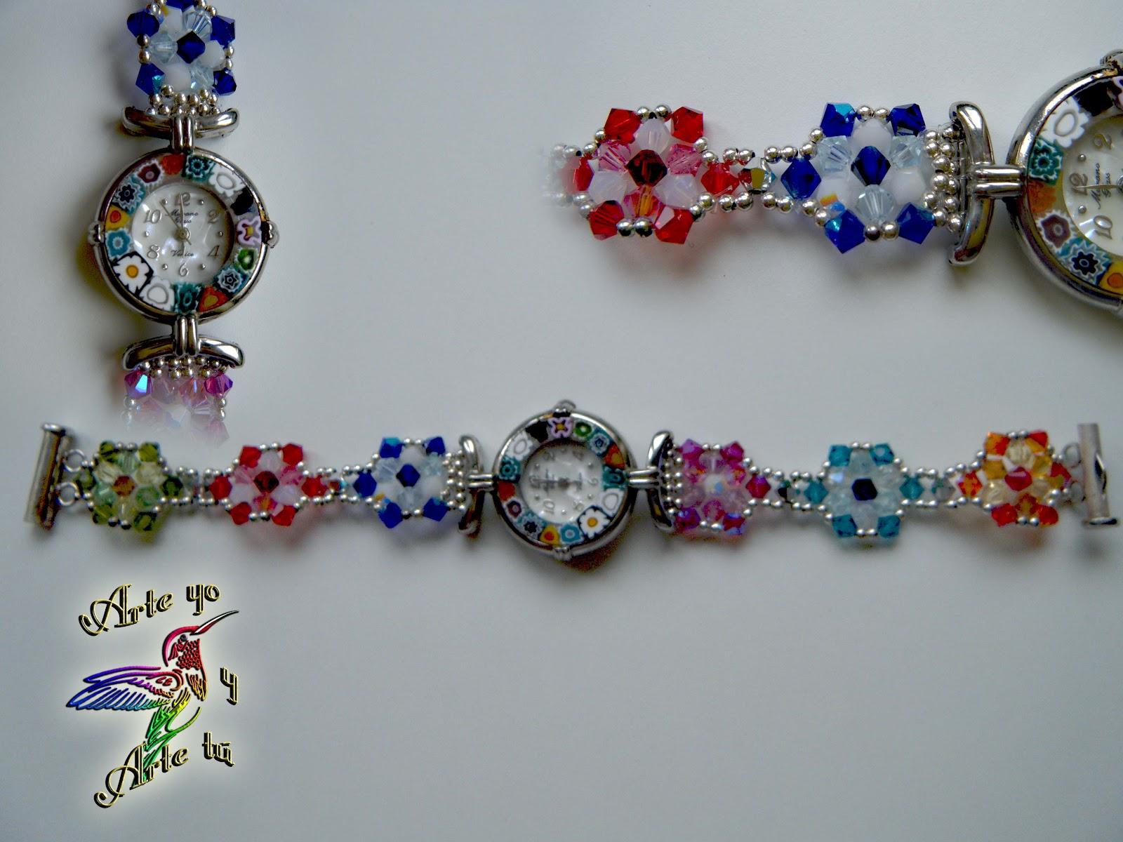 Como podeis ver, además de pulseras, se pueden realizar algunos diseños como correas de reloj, adaptándonos al color y diseño de la esfera del reloj.