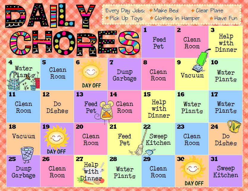For free printable PDFs of these Chore Charts, visit Happy Apple ...