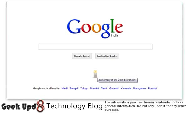 Google India Supports for Brave Heart (Damini) Delhi Bus Gang Rape with a Candle on Homepage