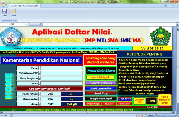 Aplikasi Penilaian SMP MTs SMA SMK MA Kurikulum Nasional