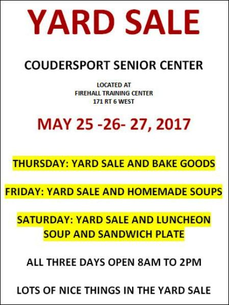 5-25/26/27 Yard Sale, Coudersport Senior Center