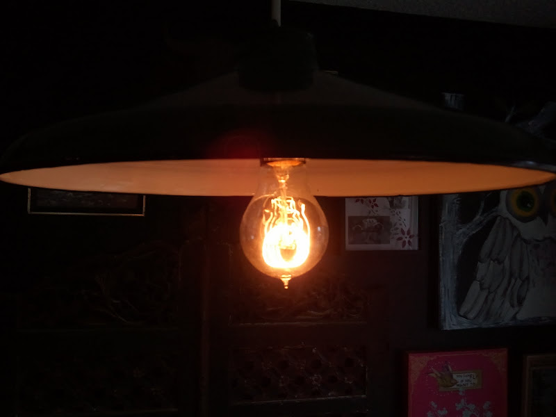 And then we got an Edison Bulb from Anthropologie. Love it! title=