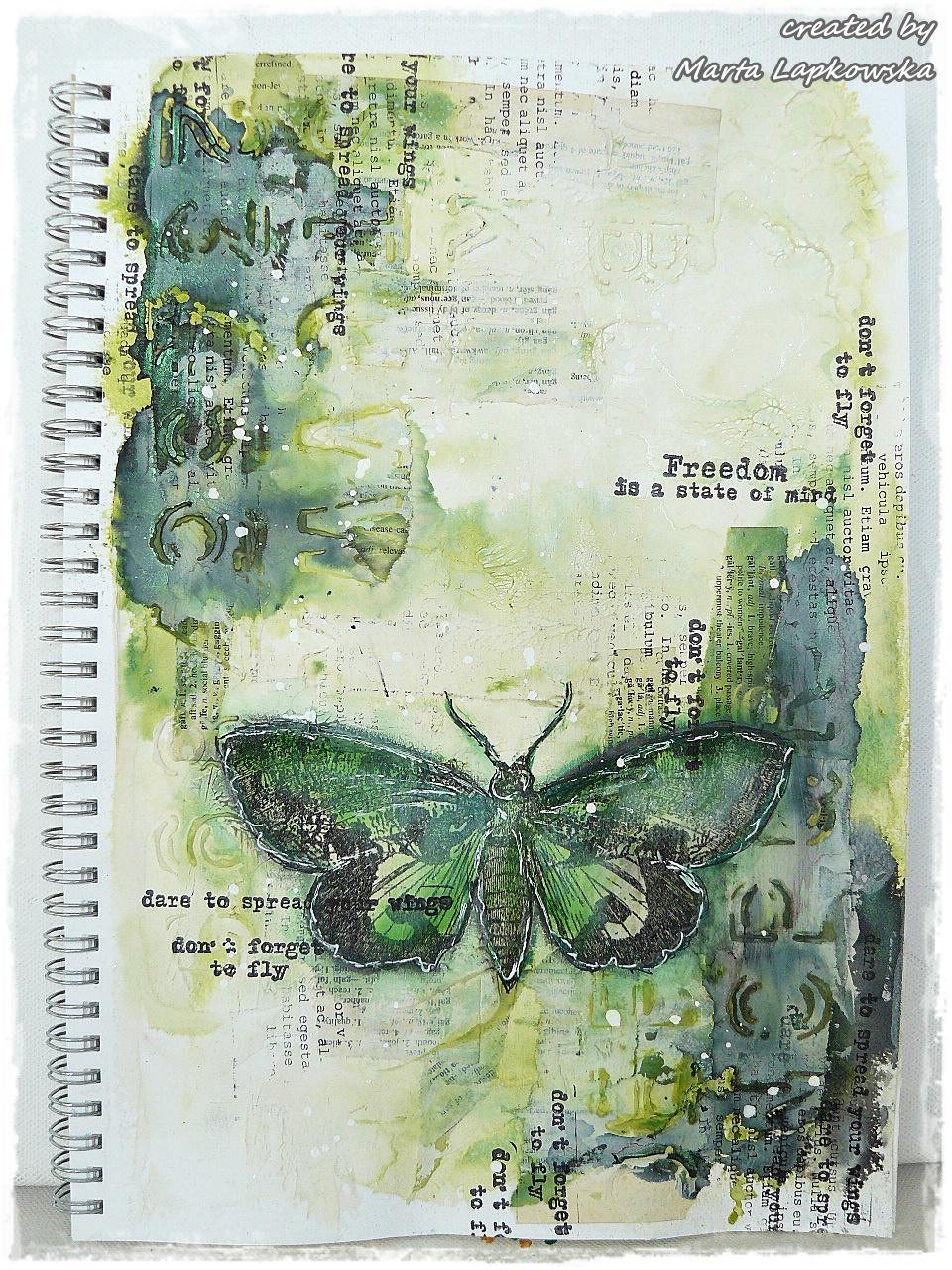 Art Journal Calendar Tutorial : Marta lapkowska freedom of moth journal page video