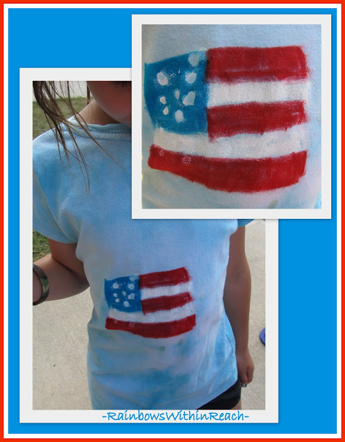photo of: Child painted American flag on t-shirt