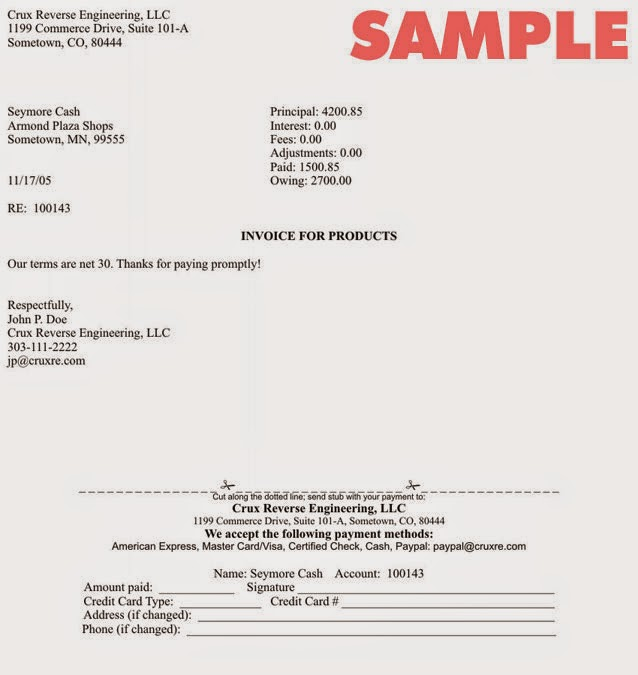 Free Example For Invoice Letter