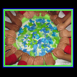 photo of: Earth Day art project, collaboration, preschool, kindergarten, globe art