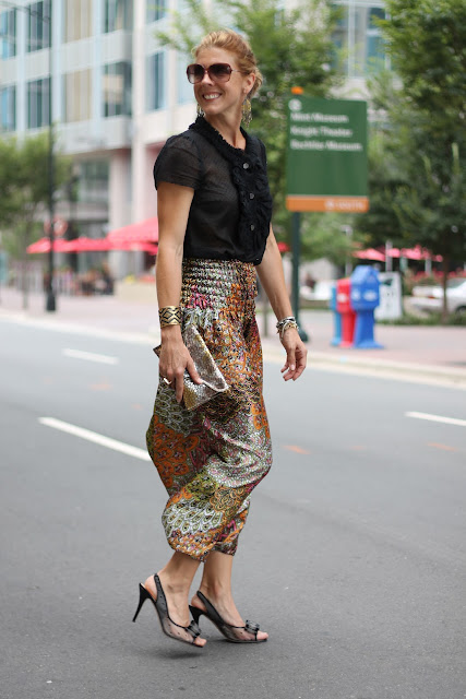 Harem Pants from Woman Shops World, J. Crew Bouse, Kate Spade Pumps, JJ Winters Clutch, Blinde Sunglasses