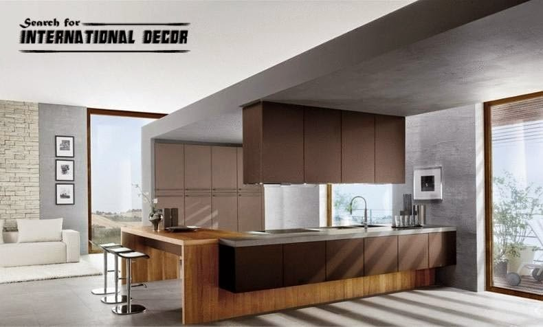 Italian kitchen, Italian cuisine, modern brown kitchen
