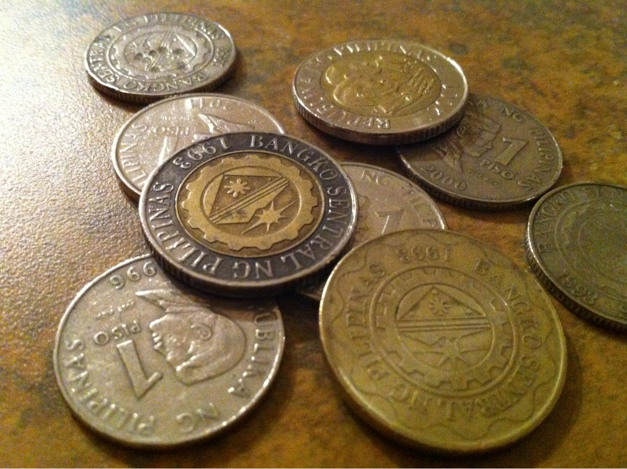 Philippine coins stock photo