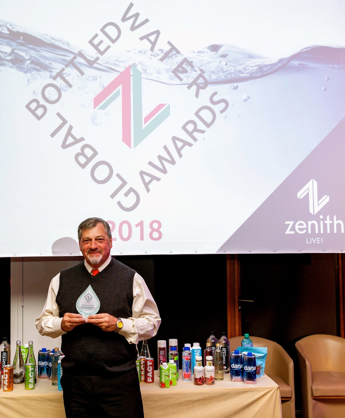 Receiving the award for Best Still Water on behalf of Highlands Beverages in Evian France, 2018