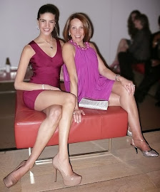 Tiny bandaid dress barely covers this models leggy legs.