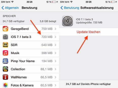 Delete OTA Download Files from iPhone iPad iPod