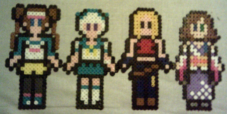... with these four melted plastic versions of some of my sprite patterns