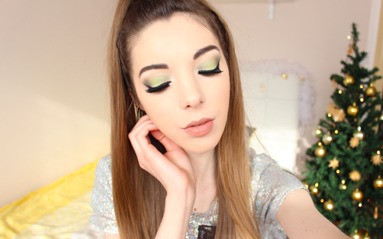 emerald green glam holiday party eye makeup