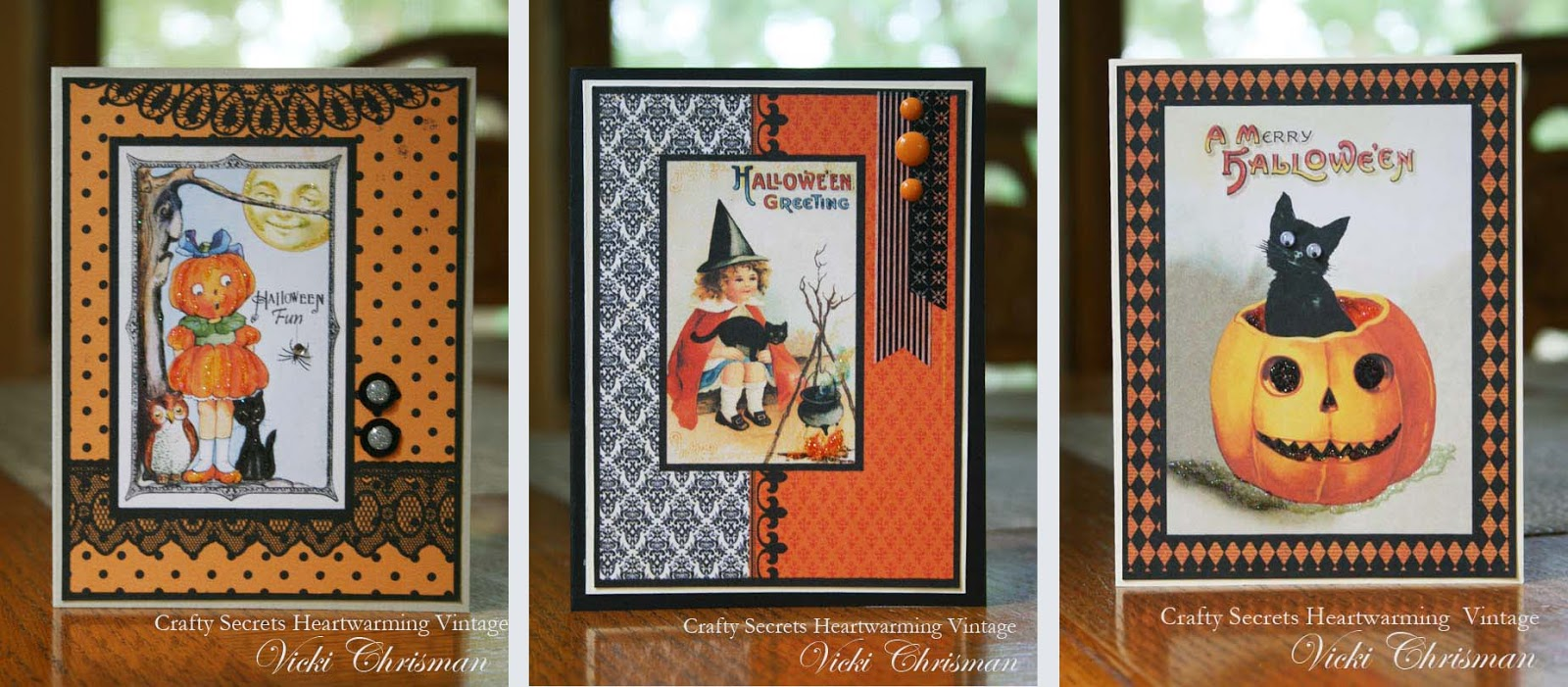 everything to create these cards with the exception of the small embellishments and stickles is found on this creating with vintage halloweencd from - What To Say In A Halloween Card
