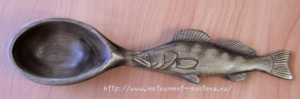 Деревянные ложки резные с рукояткой в виде рыбы - отличный подарок рыбаку-любителю