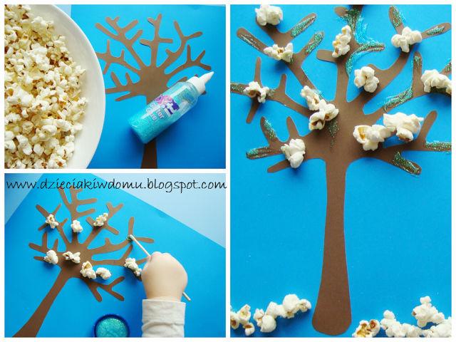 zimowe drzewko śnieg z popcornu dla dzieci