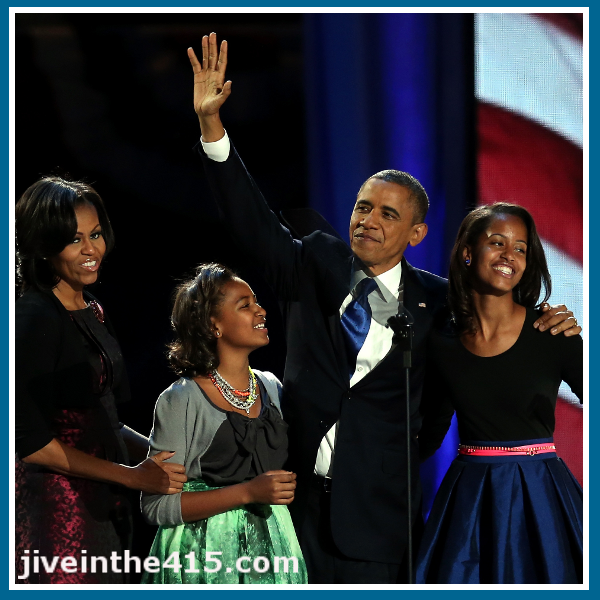 President Obama and First Lady Michelle Obama, Malia Obama and Sasha Obama November 7, 2012.
