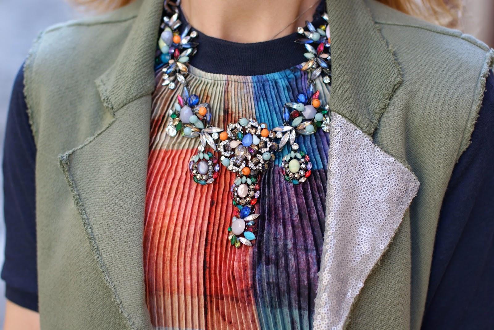 Zara statement necklace, Praio sleeveless jacket, Fashion and Cookies, fashion blogger