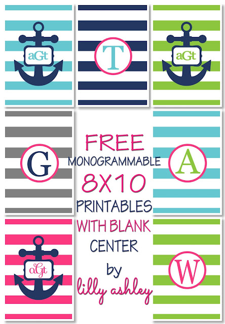 navy free printables initial personalized