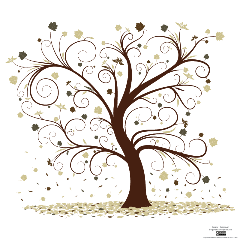 枝の巻いた樹 free vector curly tree design