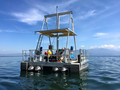 Drilling platform on Lake Prespa