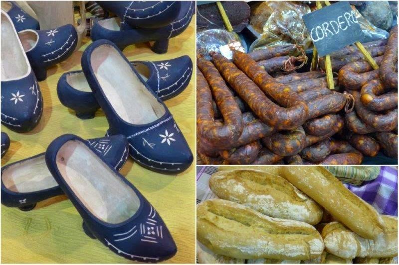 Mercado en la feria ganadera de San Antonio en Gijón: madreñas, embutido, pan