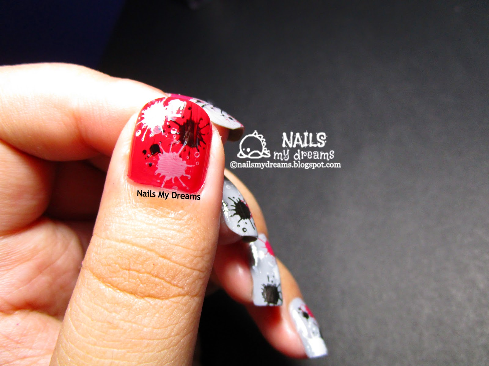 splatter nail art via stamping thumbnail shot 4