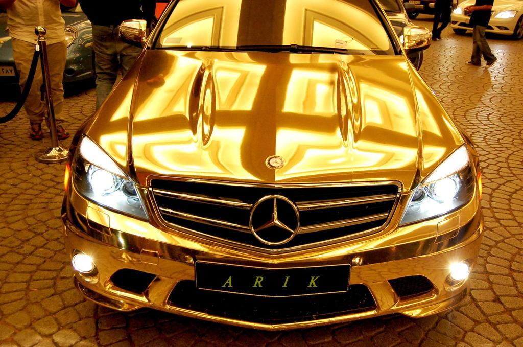 plush paparazzi mercedes gold