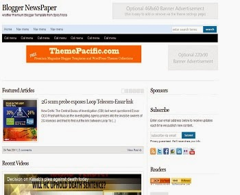 Blogger Newspaper - Free News Blogger Template