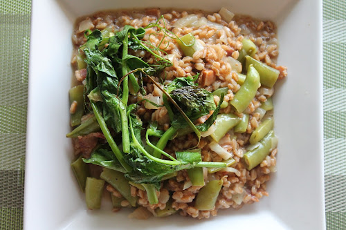 Three-Peas Farro Risotto with Bacon
