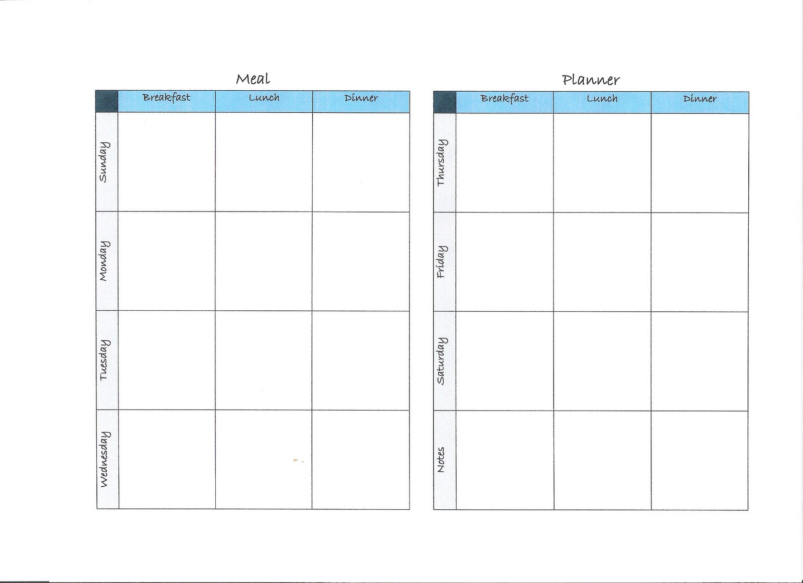 One week planner calendar template 2016 for Two week meal plan template
