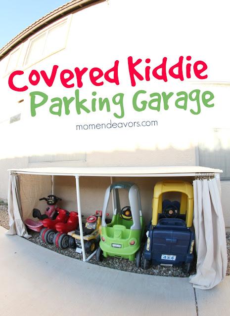 Covered Kiddie Parking garage with PVC pipe ::OrganizingMadeFun.com