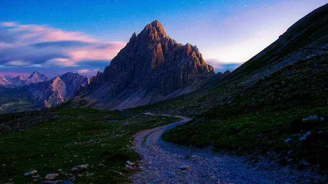 Summer morning mountains stones road HD Wallpaper
