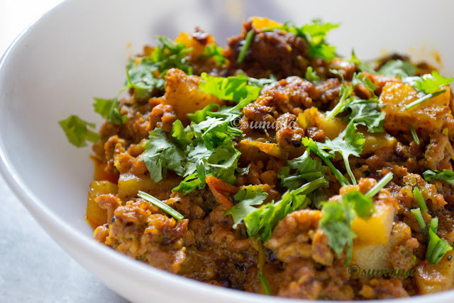 Achari Keema,  an easy to cook spicy chicken mince recipe