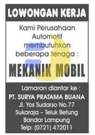 Lowongan Kerja Lampung, Sabtu 31 Januari 2015 di Perusahaan Otomotif yaitu PT. Surya Pratama Buana