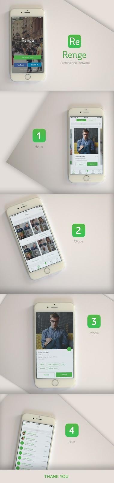 free  psd Renge mobile app ui