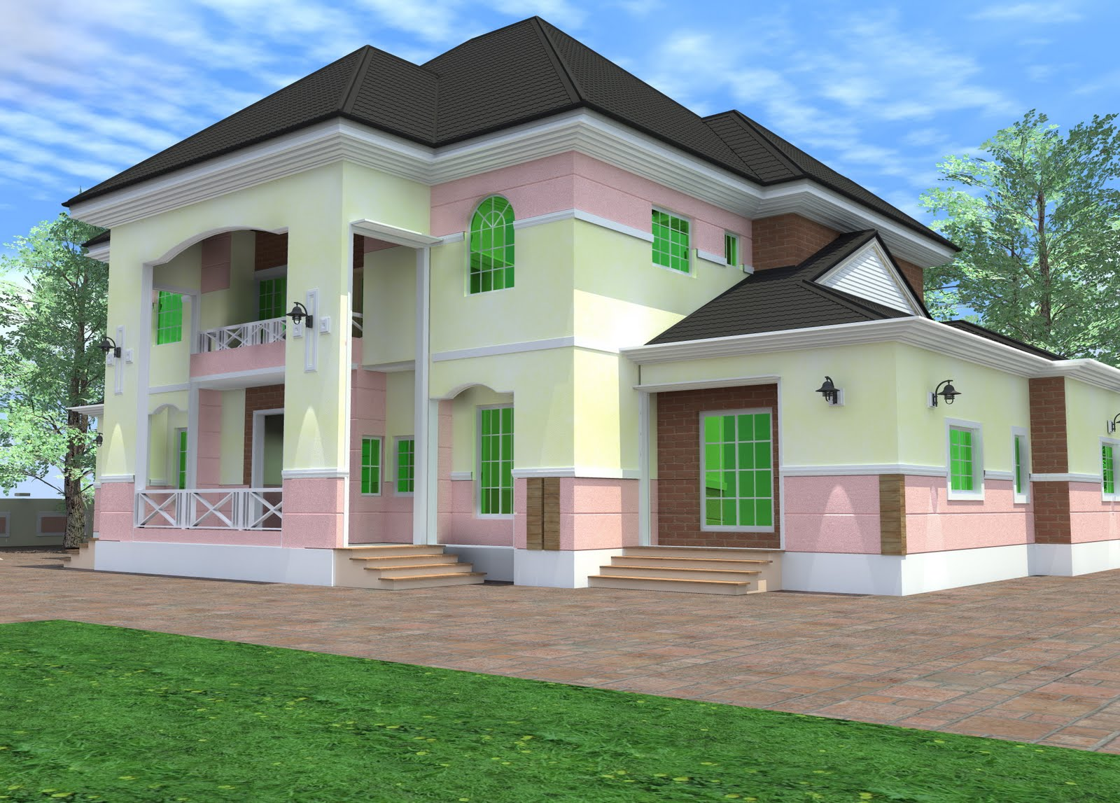 Residential homes and public designs 6 bedroom duplex for Home designs 6 bedrooms
