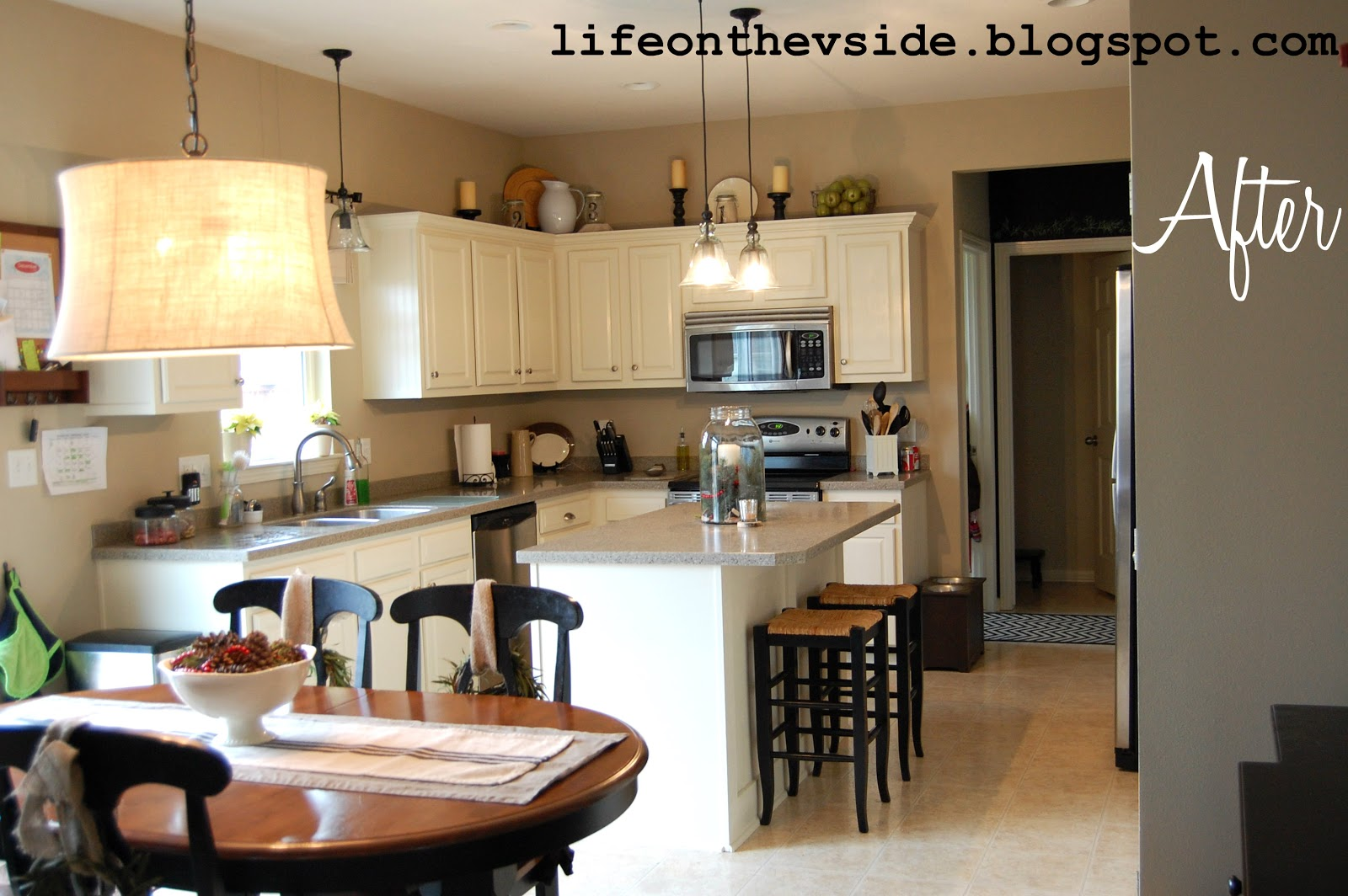 New Kitchen Cabinets Before After on the v side: kitchen before & after [painted kitchen cabinets]